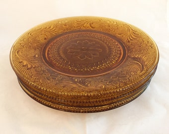 Amber Sandwich Glass Lunch Plates, Set of 4 Amber Plates, Salad Plates, Dessert Plates, Tiara Exclusives