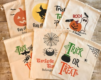Personalized Halloween Bags, Personalized Trick Or Treat Bags, Personalized Halloween Sacks, Canvas Halloween Bags, Halloween Candy Bags