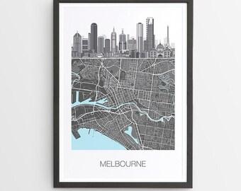Melbourne Illustrated Skyline Map Print / Victoria / Skyline illustration / City Print / Australian Maps / Giclee / Unframed