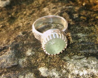 Sea Glass ring, Pale Green sea glass ring, Cornish sea glass statement ring, UK size L, US 5.5, Silver ring, Birthday gift, Gift for her.