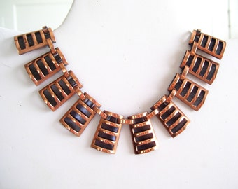 Modernist Copper Necklace, Vintage Rame' Copper Necklace, Mid Century Modern Link Necklace, Vintage Copper Jewelry, Statement Necklace