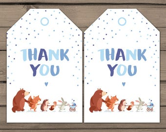 Woodland Favour Tags Woodland Baby shower Woodland Thank you tags Woodland Party Favor tags Woodland birthday blue forest PRINTABLE DIY wbs