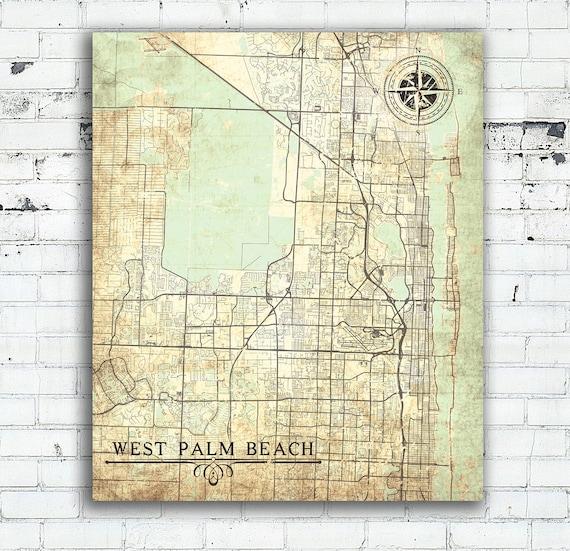 WEST PALM Beach FL Canvas Print Florida Fl Vintage map West