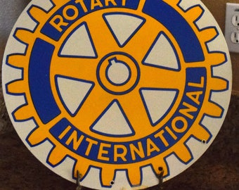 Dollar Shipping! Rotary International Blue and Yellow Metal Sign!