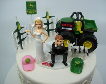No Farming Corn Fence JOHN DEERE TRACTOR Bride and Groom Got the Key Wedding Cake Topper Funny