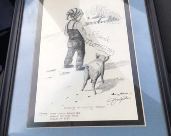 Vintage hand drawing by NC artist for a friend....free shipping