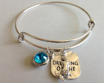 Mermaid Bracelet I'm Dreaming of the Sea Inspirational Message Quote SILVER TURQ Crystal