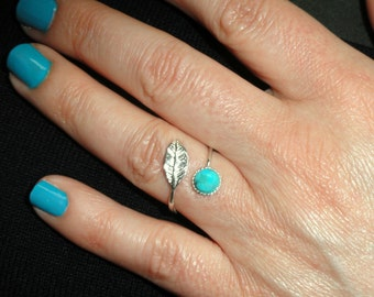 Sterling silver leaf turquoise ring, Turquoise leaf adjustable ring, Stone ring, Boho leaf ring, Turquoise ring, December birthstone ring