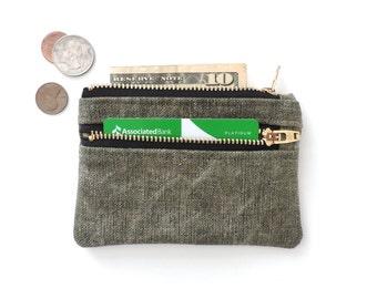 Distressed Canvas Wallet Pouch Double Zipper Coin Purse Slim Wallet