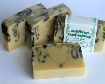 Herbal Rosemary Handmade Goat Milk Soap - Scented with Rosemary,  Lemongrass  Essential Oils - Kitchen or Garden Soap, Bath and Shower Soap