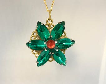 Anastasia necklace together in Paris Charm Necklace Replica Flower Emerald Ruby Romanov Replica Handmade Clear Back