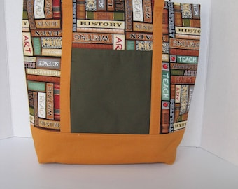 Tote Purse Women's Accessories Fabric Handmade Library Print Books Multi-Colored