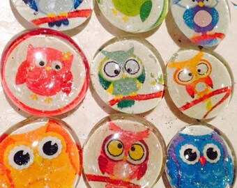 "Cute owl glass magnets. Set of 7 colorful owl fridge magnets, approximately 1"" round, refrigerator magnets"