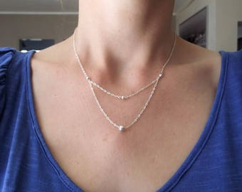 The Choker necklace in 925 sterling silver beads double strand chain