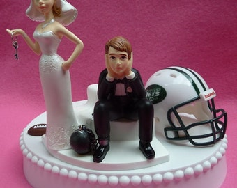 Wedding Cake Topper New York Jets NY Football Themed Ball and Chain Key w/ Garter Bride and Groom Sports Fan Fun Humorous Sporty Unique