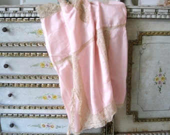 1920s Step In Lingerie, Vintage 20s Pink Silk and Lace Romper Nightie Teddy Flapper Lingerie