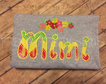 MIMI applique Short-Sleeve T-Shirt for Grandmother Customized and Personalized