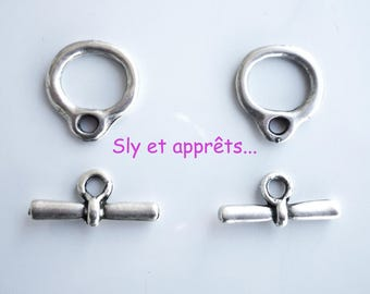 set of 2 silver plated toggle clasps (n ° 1)