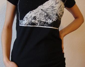 Mountain design t shirt stylish screen print illustration  graphic  black ink