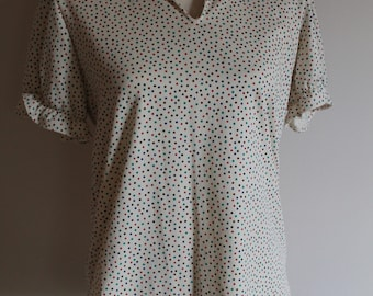 70's Polka Dot Polyester V Neck Blouse Women's Size Small/Medium