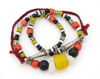 Special design necklace with rare antique Yemeni brass beads and genuine coral