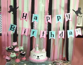 Kitty happy birthday banner, kitty party decorations, cat birthday banner, pink and mint birthday banner