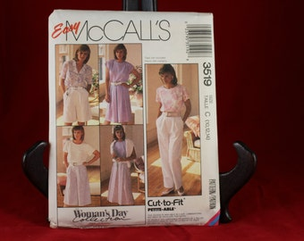 McCall's 3519 Woman's Skirt,Culotte, and Pants Pattern Size C (10,12,14)