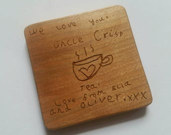 Solid, chunky, Cherry Wood Coaster, personalised with children's drawings and handwriting