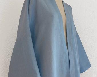 light blue linen kimono