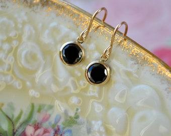 Tiny Black Cz Earrings - Dainty Gold Filled Jewellery