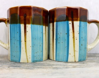 Vintage Mid Century Stoneware Mugs  Eames Era BLUE and BROWN Coffee Mug Set Speckled  Splashy Dash Westwood stoneware Pottery