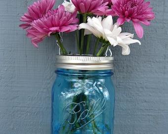Mason Jar Vase with Flower Frog and Hanger