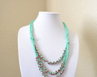Mint and red crochet statement necklace