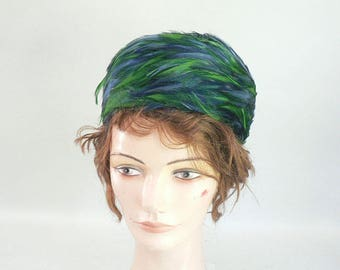 Vintage Blue / Green Feather Pillbox Hat