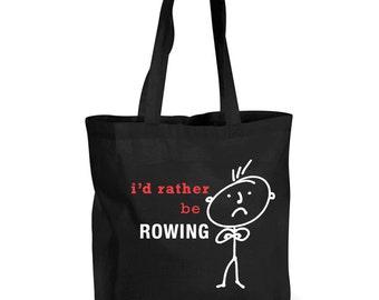 Mens Shopping Bag I'd Rather Be Rowing Reusable Black Shopper Funny