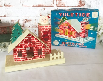 Vintage Putz Yuletide Electrified Santa Claus Chimney House, 1950's Light Up Christmas Decor, Illuminated Electric Winter Village