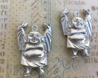 Pewter Happy Buddha Pendant Made in USA Set of 2