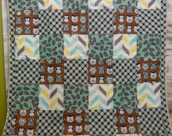 modern patchwork baby blanket keepsake quilt - espresso woods - owls, chevron, plaid, - white, blue, brown, teal, navy blue