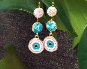 BLUSH BLUE EYE, Handmade Earrings, PolymerClay Jewelry,  Statement fashion earrings, Gifts for her, Gifts under 20