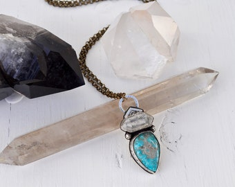 Sky People Collection | Turquoise x Tibetan Quartz x Brass x Sterling Silver | Morning Star Necklace V