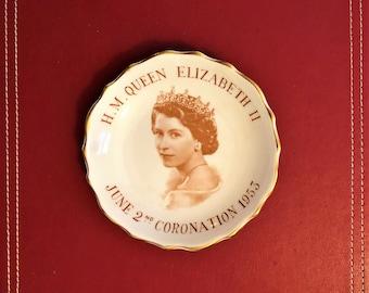 Vintage Queen Elizabeth ll Coronation Trinket Dish UK British Royalty Commemorative Plate Her Majesty Memorabilia 1953