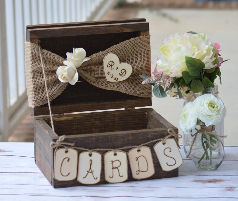 Card Box For Wedding: Personalized Rustic Card Box Burlap Wedding Reception Card