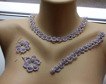 Frrivolite lace set: necklace, bracelet, earrings