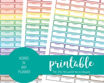 RAINBOW Priority Stickers, Printable Priority Stickers, Blank Priority Stickers, Printable Planner Stickers, ECLP, MAMBI Stickers