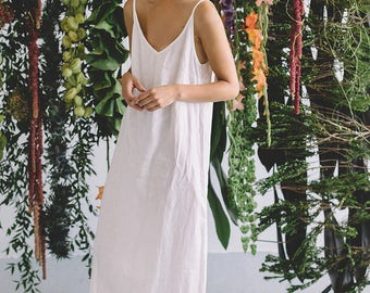 Milky white linen dress/ Summer dress/ Minimal linen dress/ Linen women clothes/ Linen dress/ Simple linen dress/ #12S Africa