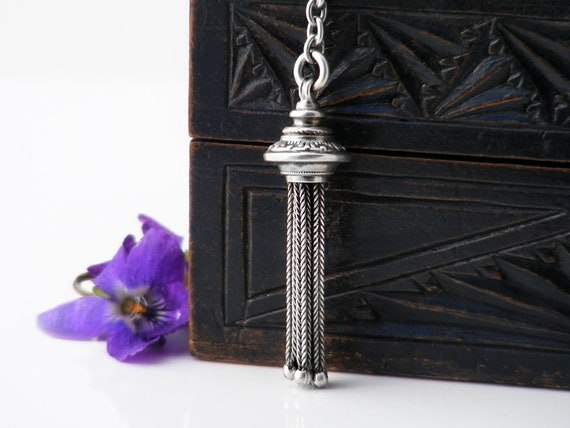 Antique Fob Tassel Pendant | Victorian Sterling Silver Foxtail Tassel Necklace | Etruscan Revival | Gothic Pendant - 20 Inch Chain Included