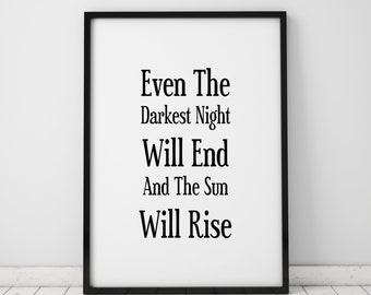 Even The Darkest Night Will End Print Victor Hugo Quote Les Miserables Bookworm Book Lover Gift Literary Gifts Printable Instant Download