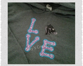 Embroidered hooded sweatshirt - love spelled out with black cow head - Angus cow head swestshirt  - custom cow hooded swestshirt