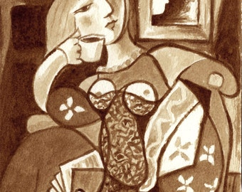 coffee art, Coffee and Reading, painted using only coffee, Picasso, reading, modern art, espresso