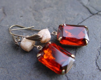 Vintage Jewels and Sunstone Gem with Brass Earrings
